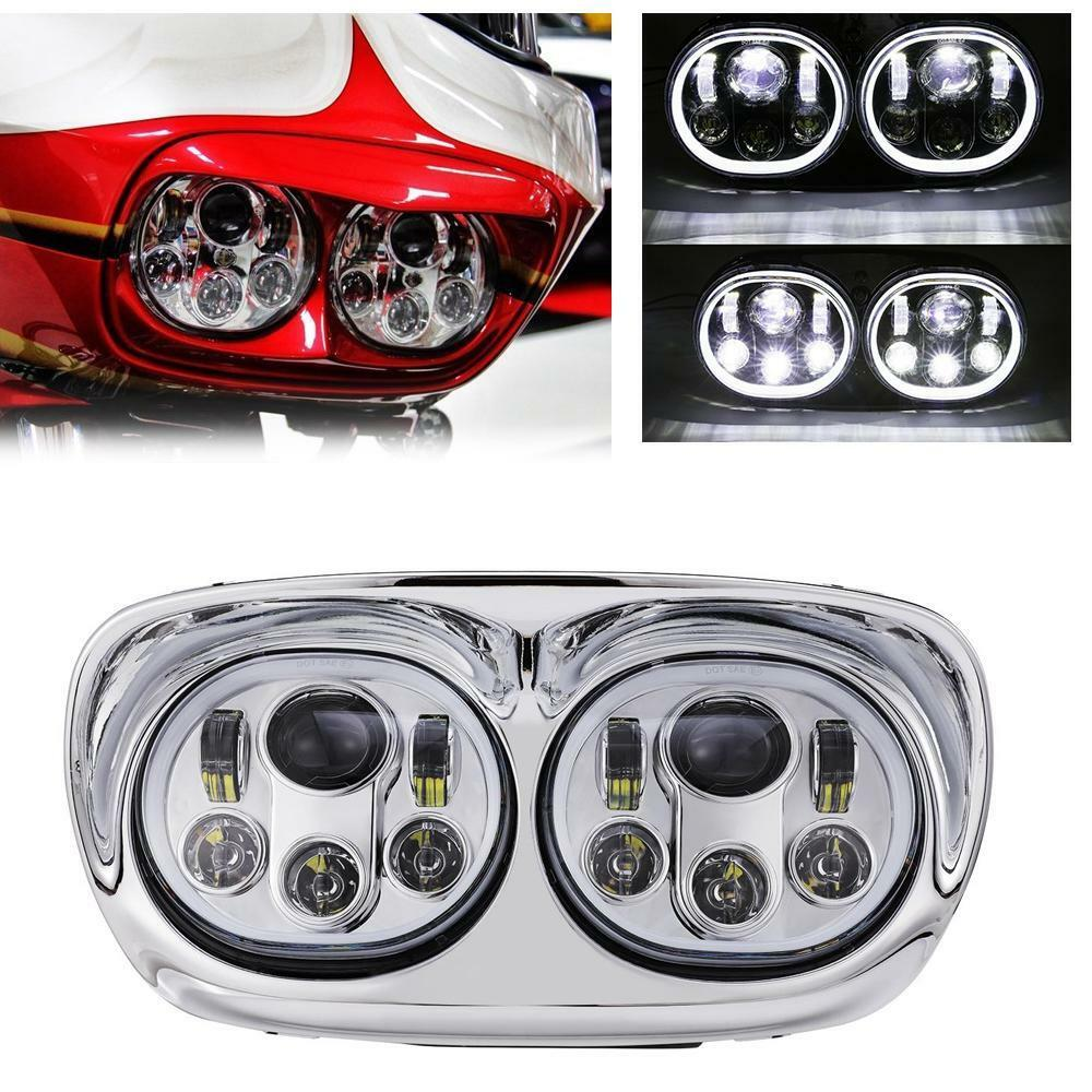 hight resolution of details about led dual headlight with halo ring angel eye for road glide 2004 2013 fltr