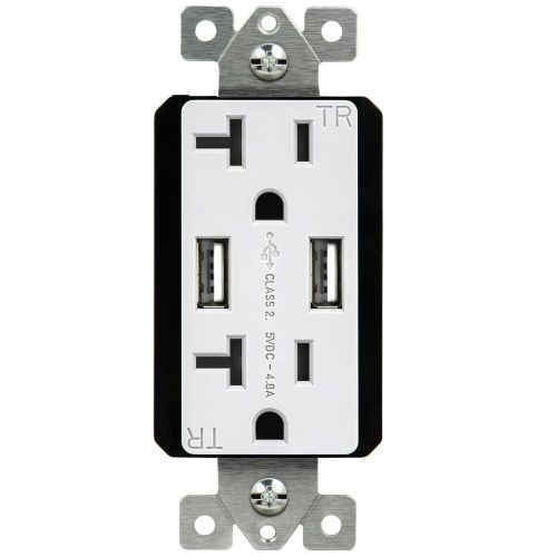 small resolution of details about topgreener tu22048a 20 amp receptacle 4 8 amp usb charging power wall outlet