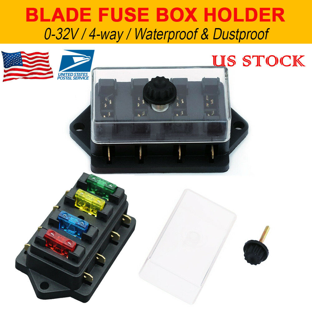 hight resolution of details about 12v 24v 4 way heavy duty fuse holder kit box car circuit blade fuse box block
