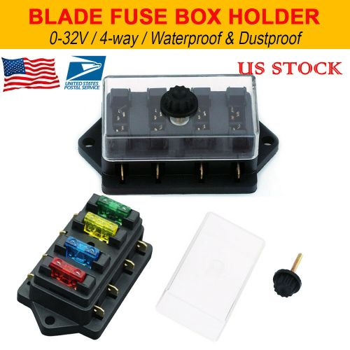 small resolution of details about 12v 24v 4 way heavy duty fuse holder kit box car circuit blade fuse box block