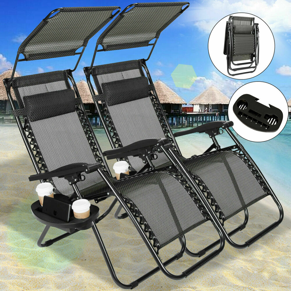 Foldable Patio Chairs New 2 Pcs Zero Gravity Chairs Lounge Patio Chairs W Canopy Cup Holder Outdoor 711347727009 Ebay