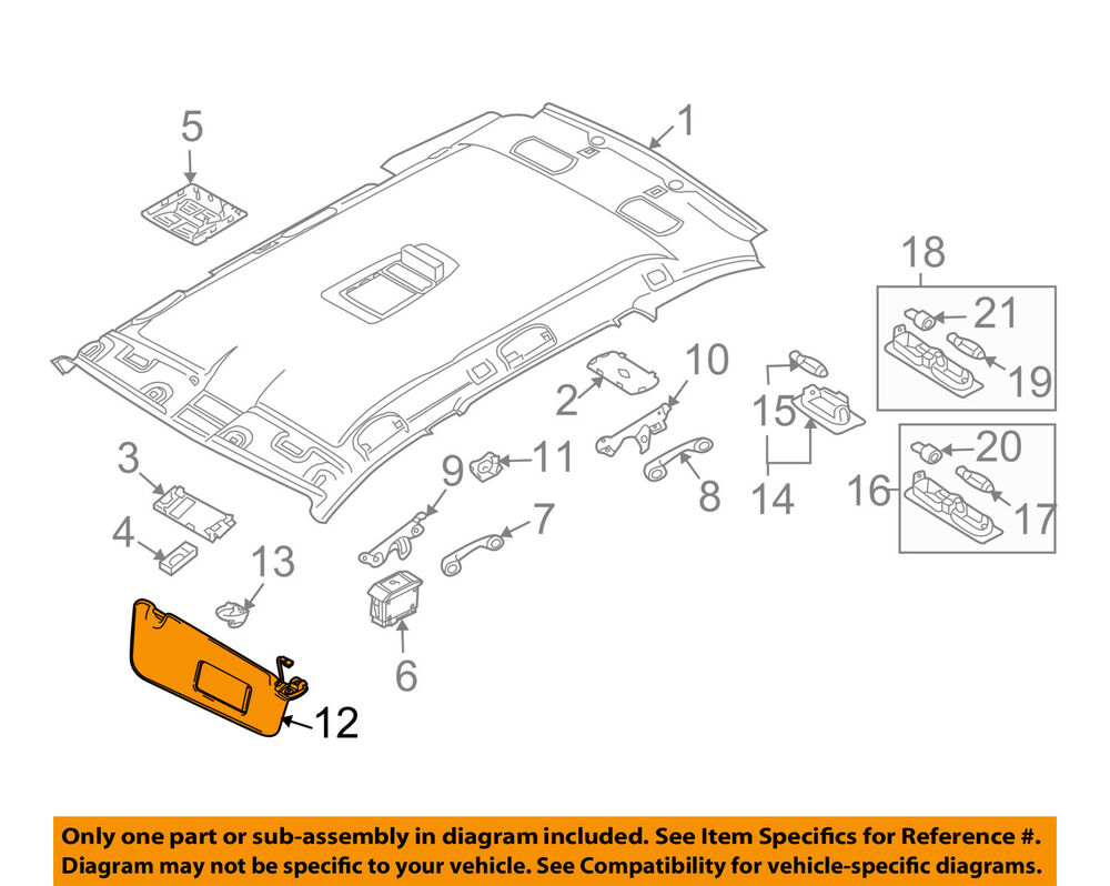 hight resolution of details about bmw oem 06 07 530xi sunvisor sun visor right 51167897614
