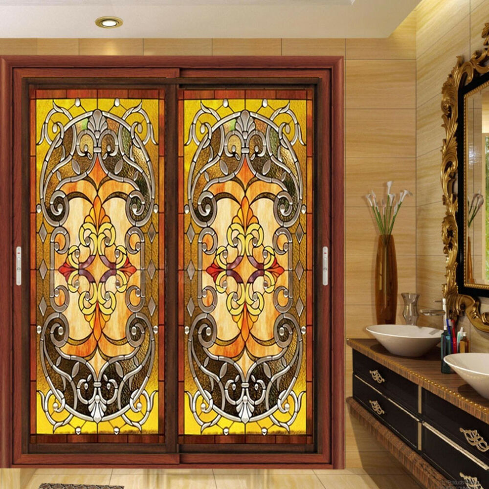 Static Cling Window Film Stained Glass Effect Door Closet