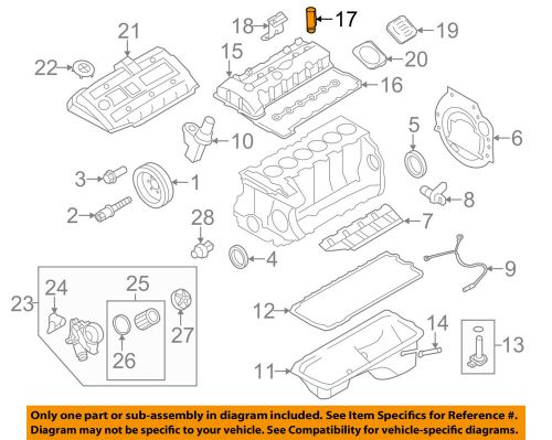 small resolution of details about bmw oem 07 13 328i 3 0l l6 engine valve cover sleeve 11127575422