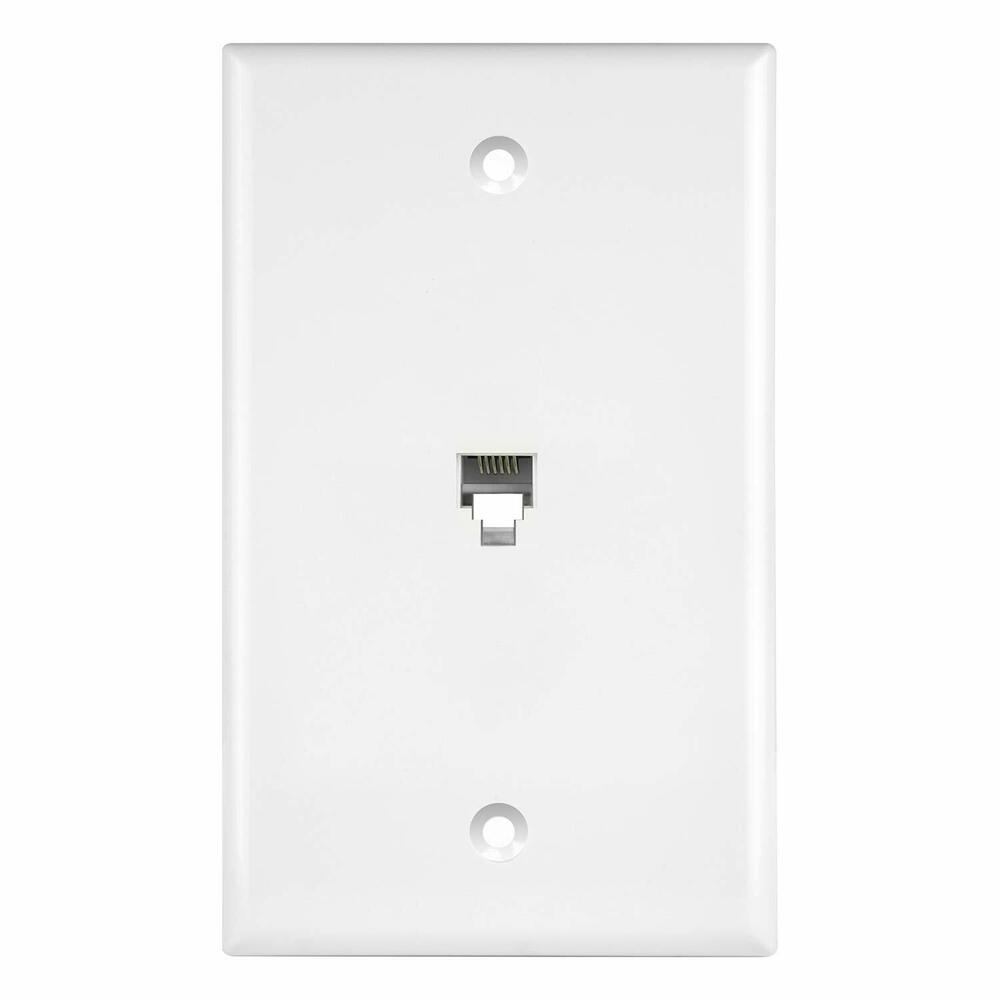 medium resolution of details about new single rj11 rj12 6p6c phone jack modular wall plate white 6631