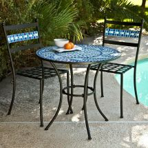 Ocean Waves Blue Mosaic Wrought Iron Small Space Patio