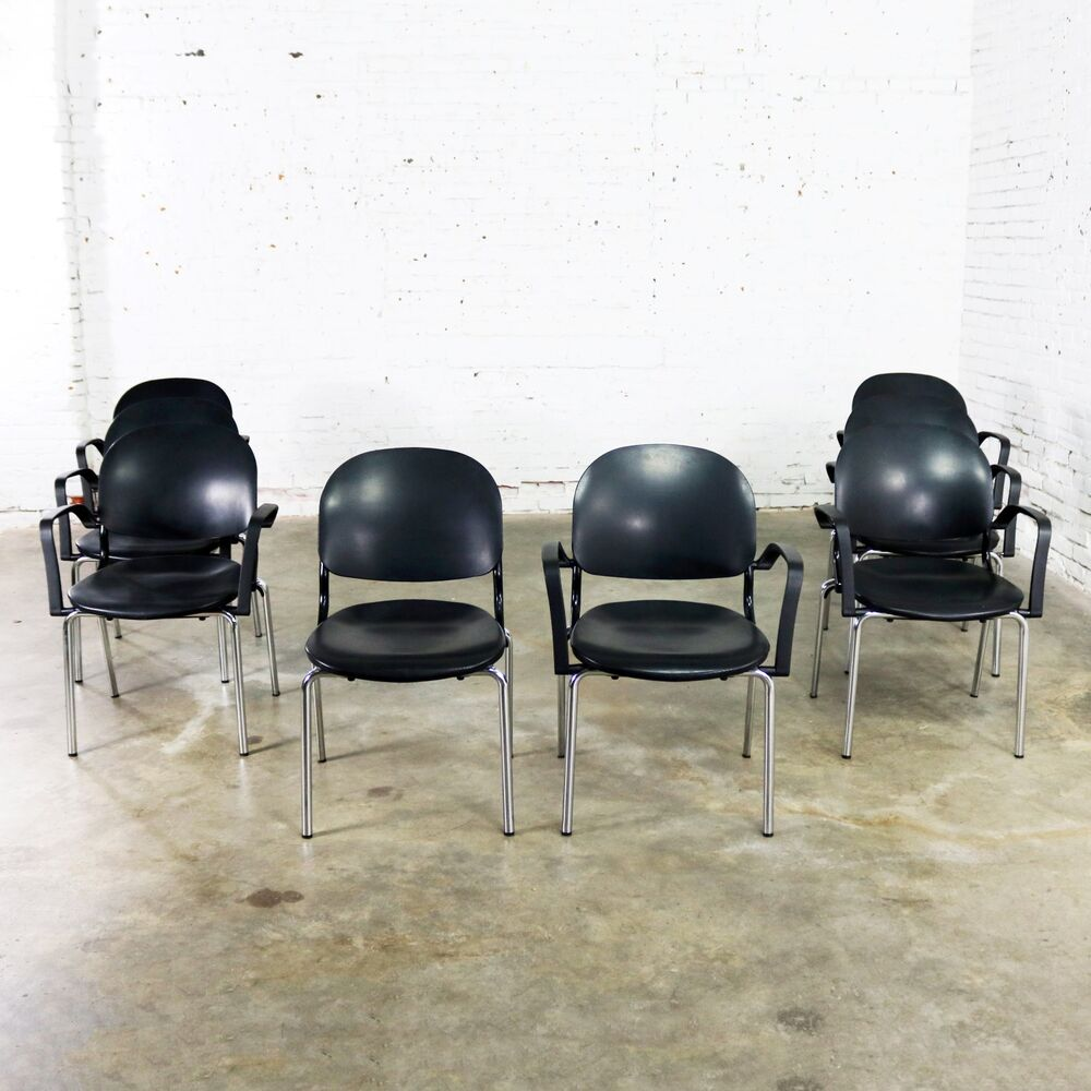 Ki Chairs Black Torsion Chairs By Giancarlo Piretti For Ki Set Of Eight 7 Arm And 1 Side Ebay