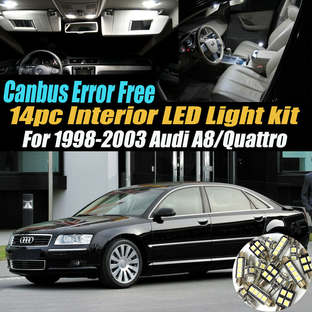 hight resolution of details about 14pc 98 03 audi a8 quattro canbus error free car interior led white light kit