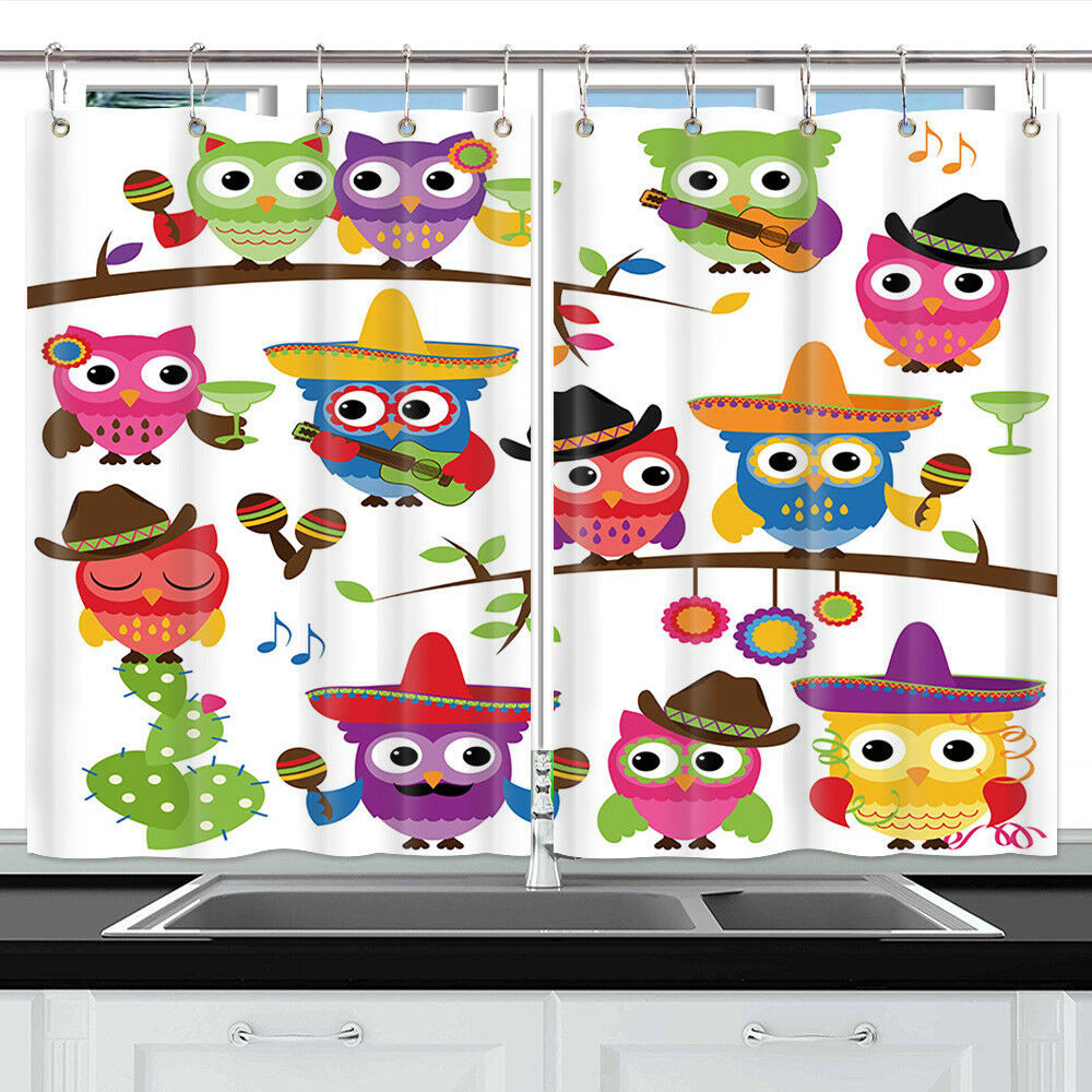 Cute Owl Decor Cute Owl Cartoon Bird Decor Short Kitchen Curtains Window Drapes 55