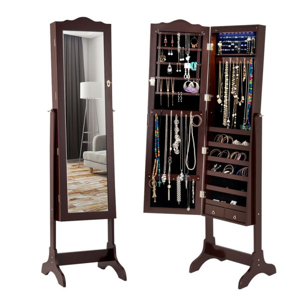 Lockable Mirrored Jewelry Cabinet Armoire Organizer Withstand & Led Lights Coffee