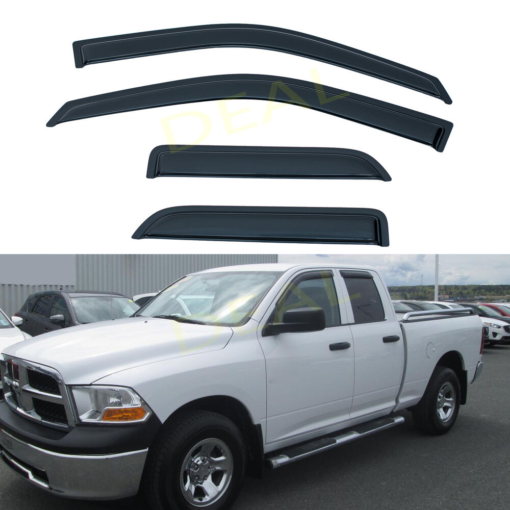 hight resolution of details about 4pcs vent window visors fit 09 18 dodge ram 1500 quad cab w small rear doors