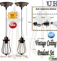 details about lighting vintage industrial metal wire ceiling pendant shade modern hanging lamp [ 1000 x 1000 Pixel ]