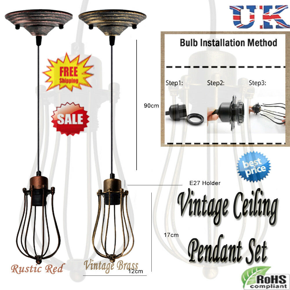 hight resolution of details about lighting vintage industrial metal wire ceiling pendant shade modern hanging lamp