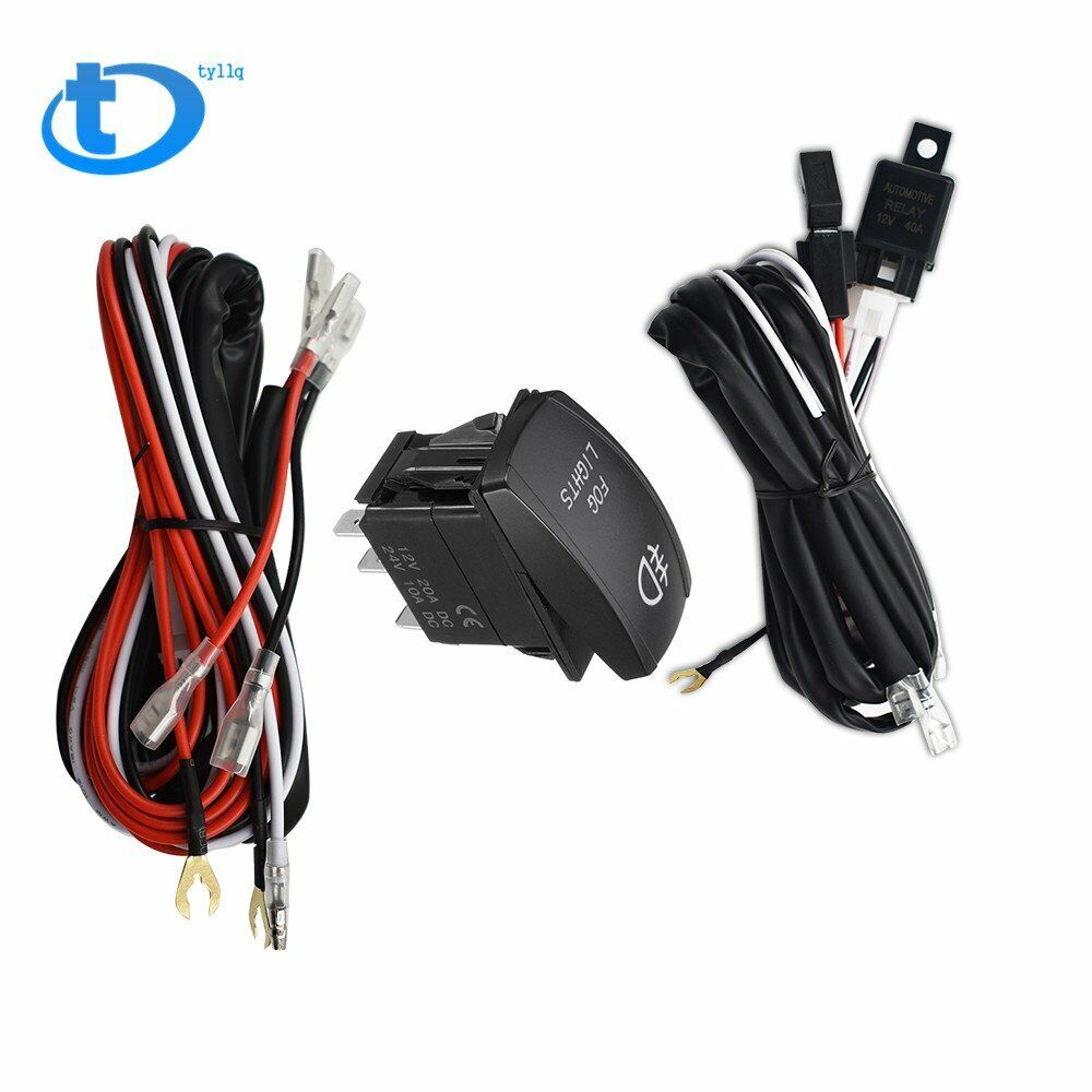 medium resolution of details about universal red led fog light wiring harness fuse laser rocker switch relay 12v