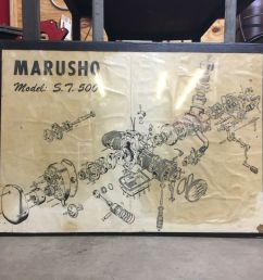 details about marusho model st 500 large exploded motorcycle engine diagram art [ 1000 x 1000 Pixel ]