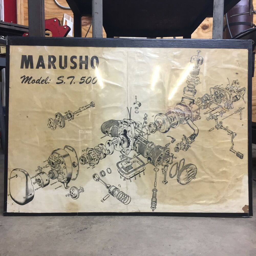 medium resolution of details about marusho model st 500 large exploded motorcycle engine diagram art