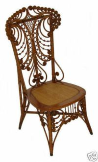 Antique Fancy Victorian Wicker Chair ~ Natural Finish | eBay