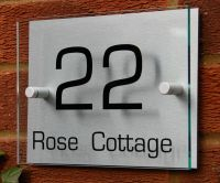 MODERN HOUSE NUMBER SIGN/PLAQUE * Aluminium & Acrylic* | eBay