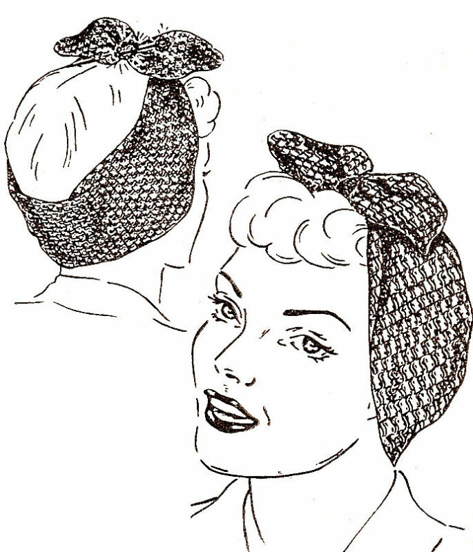 Vintage Crochet PATTERN to make Turban Scarf Hat Head Wrap