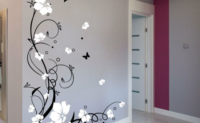 Large Butterfly Vine Flower Wall Stickers Wall Decals Ebay