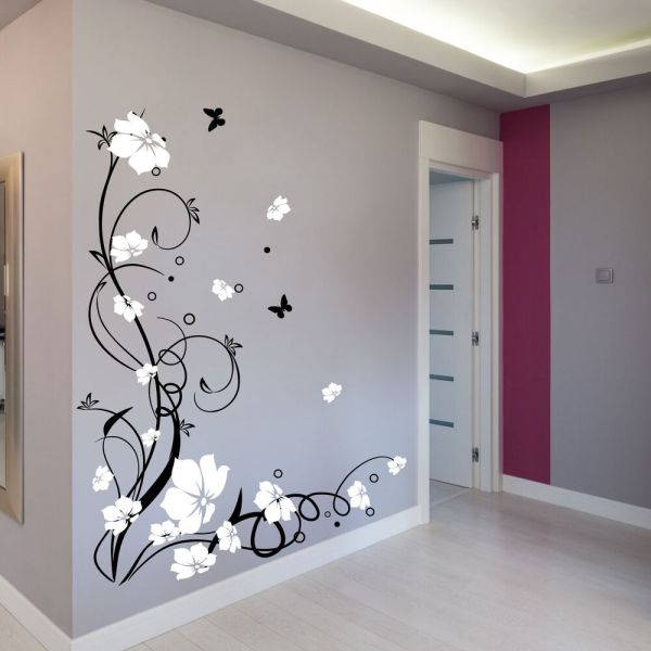 Large Butterfly Vine Flower Wall Stickers Decals