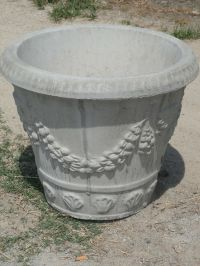 "A Pair of Large 23"" Round Swag Design Concrete Planters"
