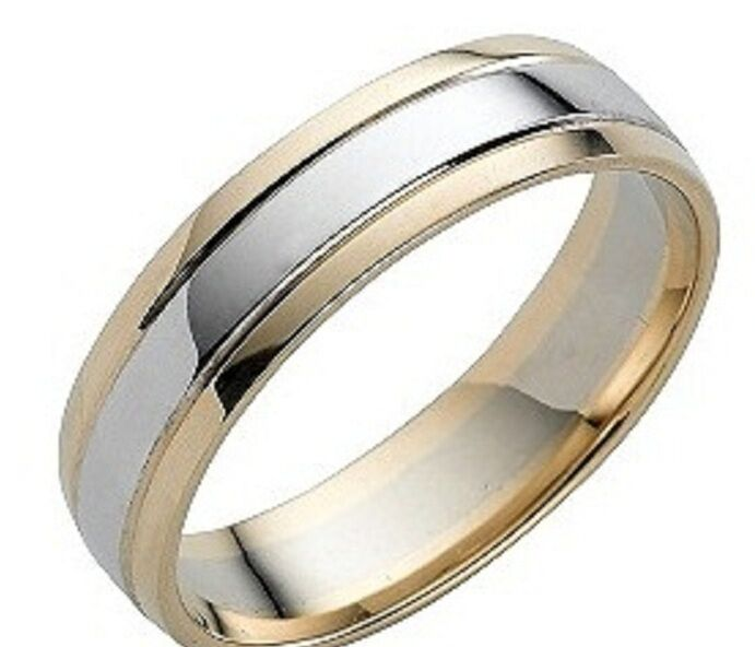 MENS 10K WHITE AND YELLOW TWO TONE GOLD WEDDING BANDS RING
