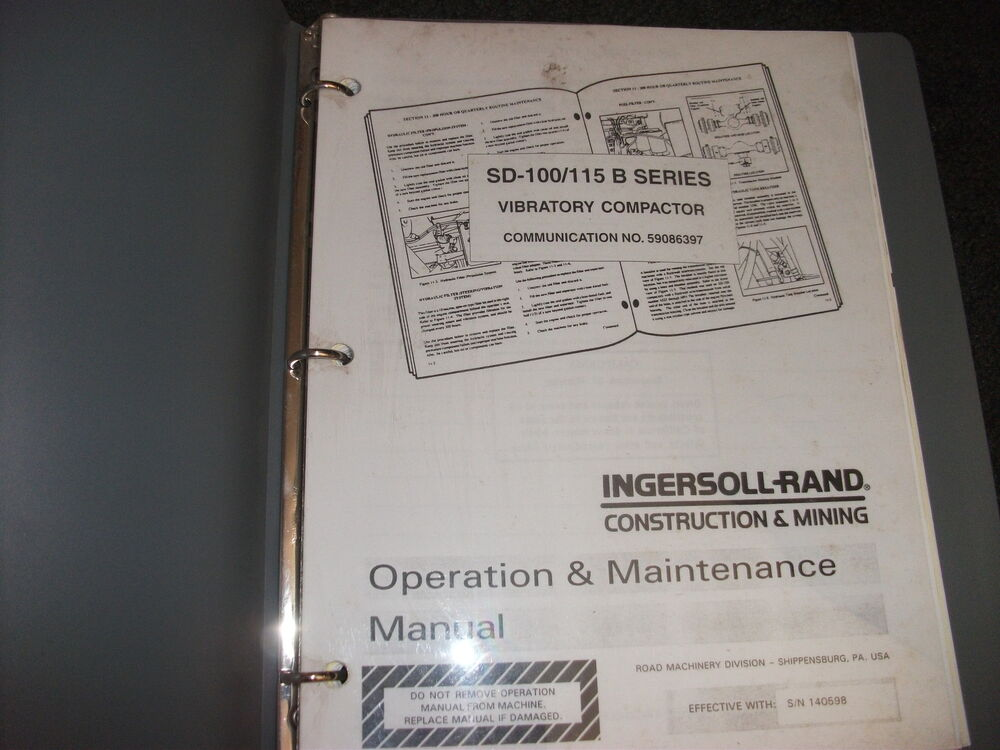 Ingersoll-rand SD-100 SD-115 B series compactor operation
