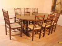 Oak Kitchen Refectory Table Dining Set Spindleback Chairs ...