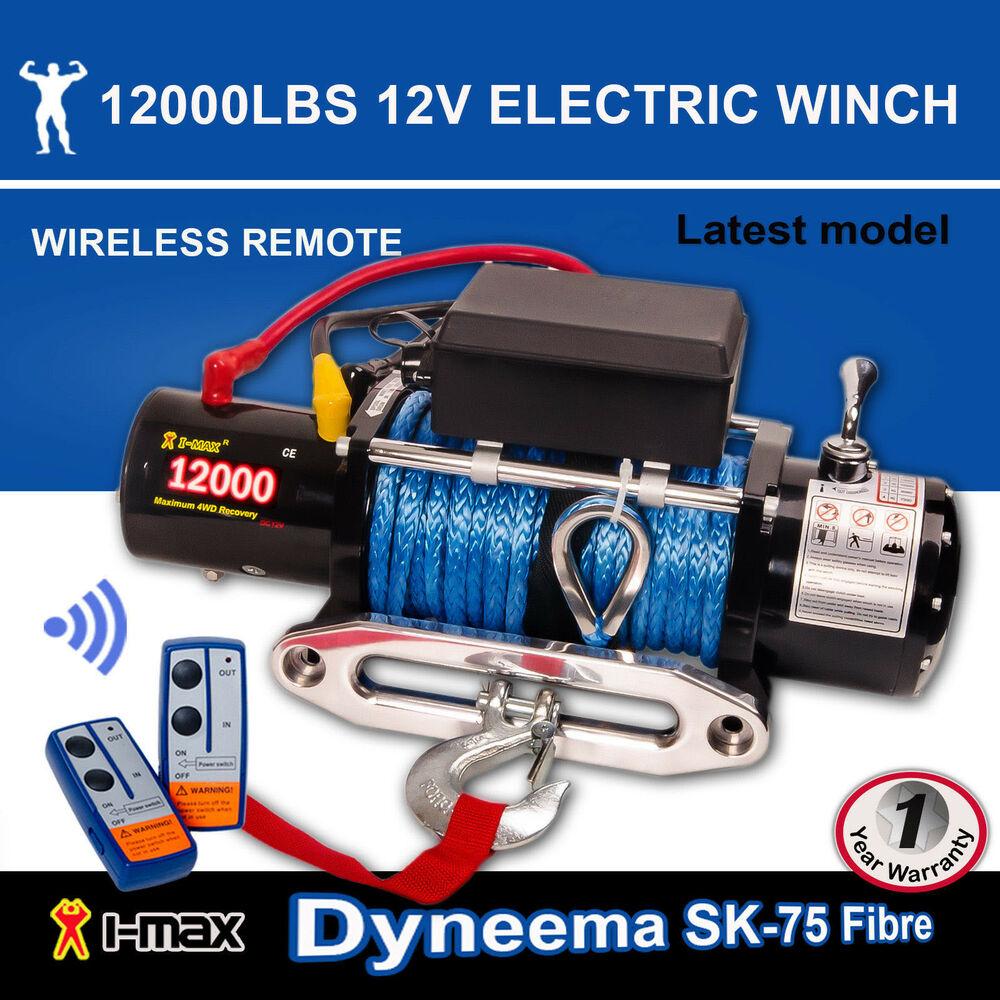 medium resolution of 12v electric winch 12000lbs 5443kgs wireless synthetic rope 4wd atv boat truck ebay