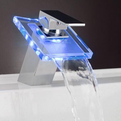 New 3 colors changing water power bathroom led light