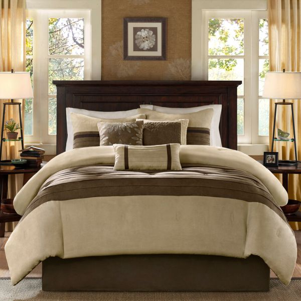 ivory and beige bedroom BEAUTIFUL MODERN COZY CASUAL BROWN TAUPE BEIGE TAN SOFT COMFORTER SET KING QUEEN   eBay