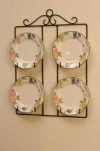 VICTORIAN SQUARE 4 PLATE DISPLAY HOLDER WALL HANGER 24 ...