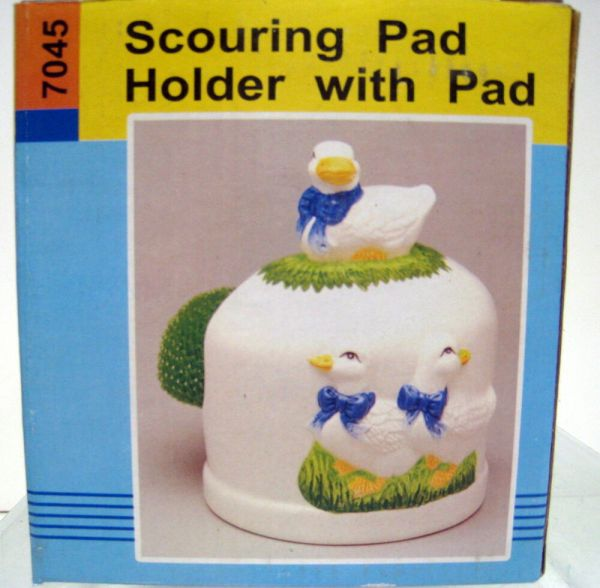 3d Ceramic Duck Scouring Pad And Holder 3 Ducks