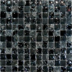 Kitchen Tiles Wall Prefabricated Outdoor Sample-black Crackle & Matte Glass Mosaic Tile ...