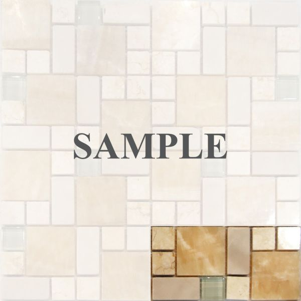 Sample-square Pattern Honey Onyx Crema Marfil & Glass