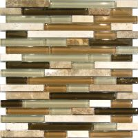 Sample-Marble Travertine Stone Green Brown Glass Linear ...