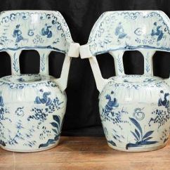White Chairs For Sale Garden Swing Chair Covers Pair Chinese Nanking Porcelain Pottery Blue Ceramic | Ebay