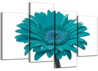 Large Teal White Gerbera Daisy Canvas Wall Art Pictures ...