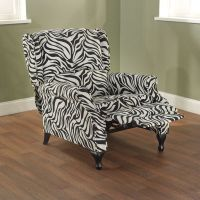 BEAUTIFUL BLACK AND WHITE ZEBRA ANIMAL PRINT WING RECLINER ...