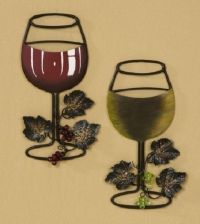 RED/WHITE WINE GLASS WITH VINE AND GRAPES - METAL WALL ...