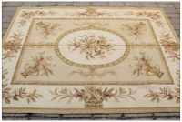 PASTEL GOLD IVORY Aubusson Rug PINK ROSE Country French ...