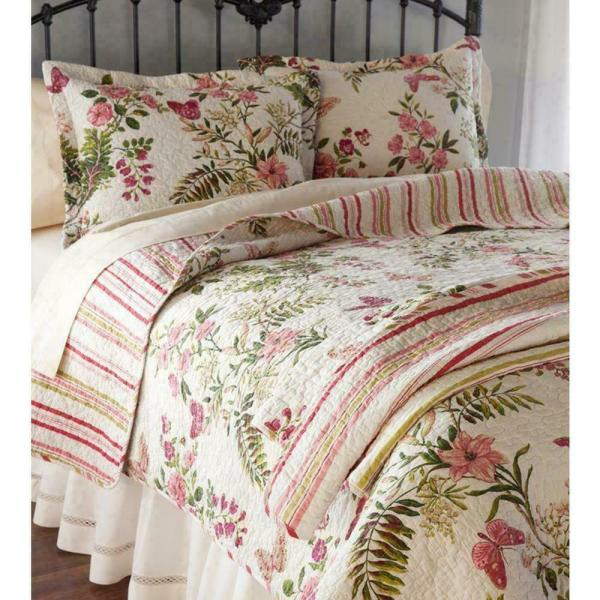 Rose Vine Floral Antique Green Pink Ivory Quilt King & Queen Sizes - Beautiful