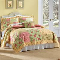 FULL QUEEN Green Yellow Pink COUNTRY FLORAL ROSE GARDEN ...