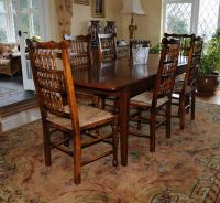 Oak Kitchen Dining Set Refectory Table Spindleback Chairs ...