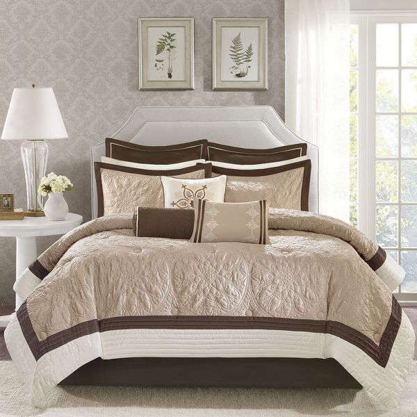 ivory and beige bedroom BEAUTIFUL MODERN ELEGANT BROWN BEIGE TAUPE IVORY COMFORTER SET KING OR QUEEN | eBay