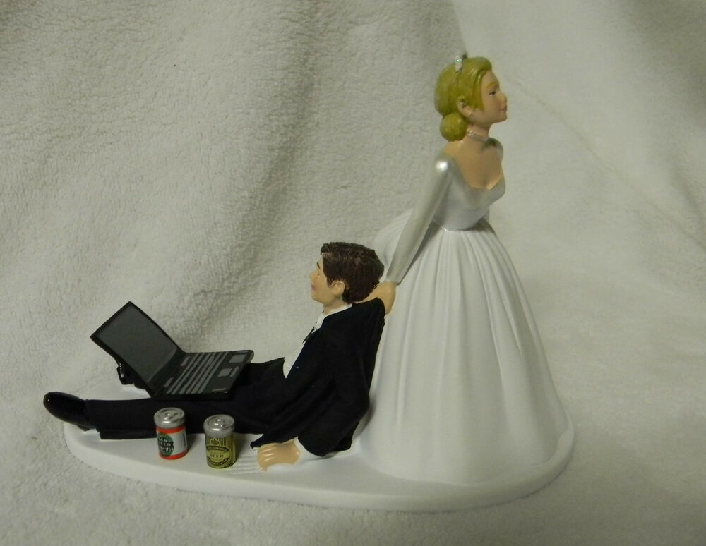 Wedding Cake Topper Beer Cans Computer Laptop Video Game