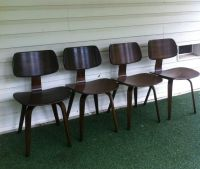 Thonet Bent plywood Vintage Oak Walnut dining chairs Mid ...