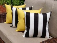 Set of 4 Black and White Stripe and Solid Yellow Outdoor ...