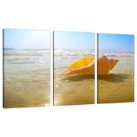 3 Part Beach Sunset Canvas Pictures Bathroom Bedroom Wall ...